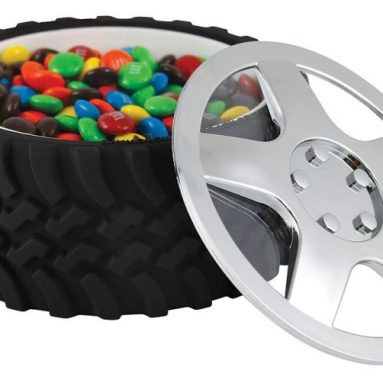 Tire Snack Bowl With Hubcap Lid