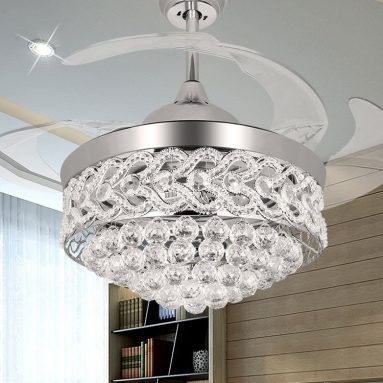 Transparent Blades Fan and Chandelier With Remote and Lights
