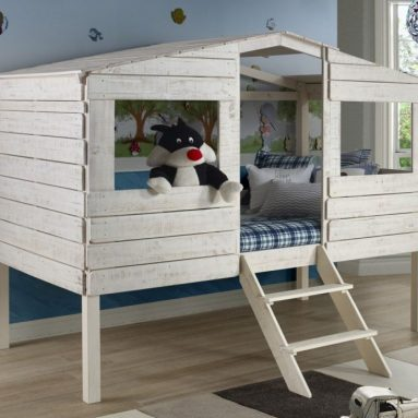 Tree House Loft Beds for Kids & Free Storage Pockets