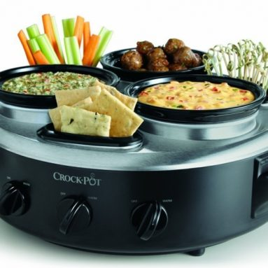 Triple Dipper Food Warmer with Portable Lid