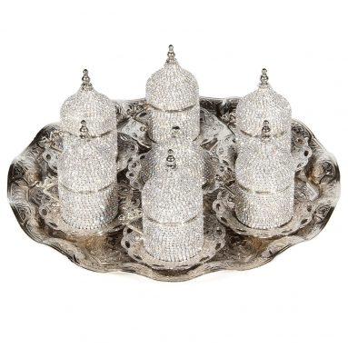 Turkish Greek Arabic Coffee Espresso Cup Saucer Swarovski Crystal Set