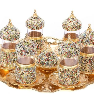 Turkish Tea Glasses Set Saucers Holders Swarovski Crystal Set