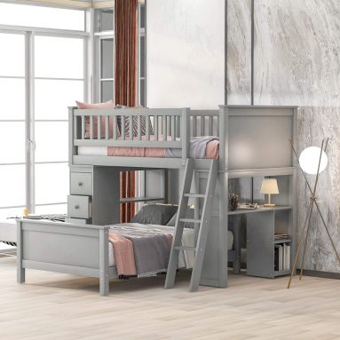 Twin-Over-Twin Bed with Storage Drawers and Stairs