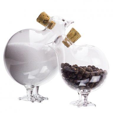 Two Chicks Clear Glass Salt & Pepper Shaker Set