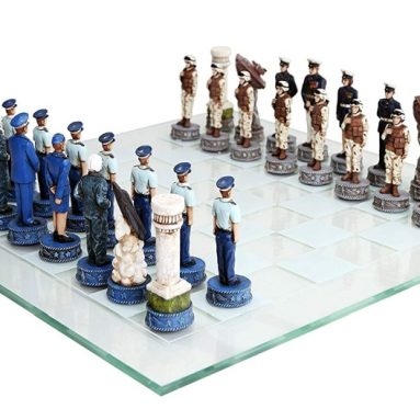 US Air Force vs Marines Military Chess Set Hand Painted