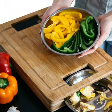 Unique Bamboo Cutting Board with Stainless Steel Clearing Bowls