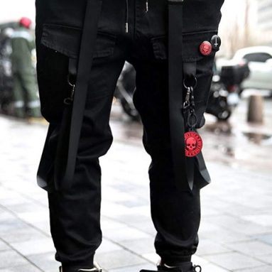 Unique Techwear Cotton Dark Strap Sporty Hiking Band Slacks Pants