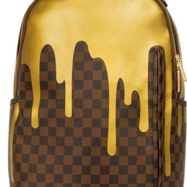 Unisex-Adult Gold Checker Drips Backpack