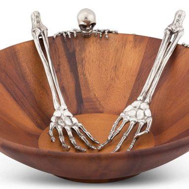 Vagabond House Pewter Metal Skeleton Arm Salad Server
