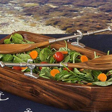 Vagabond House Row Boat Shaped Acacia Wood Salad Bowl