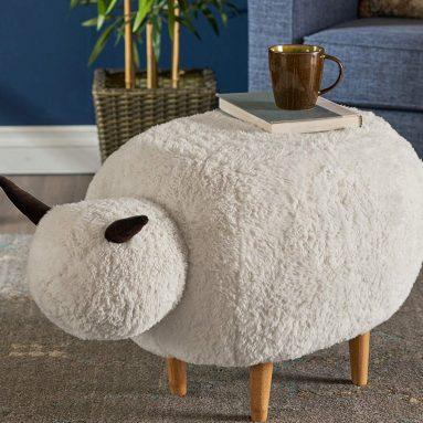 Velvet Sheep Ottoman