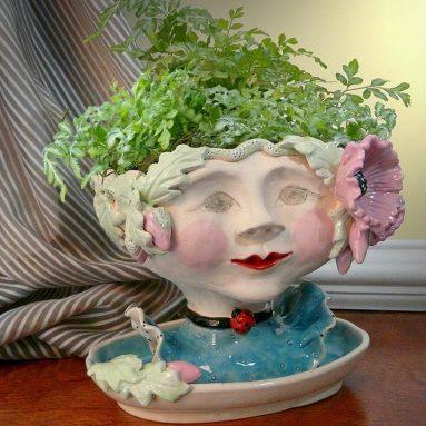 Victorian Lovelies Sculpted Pottery Indoor Head Planter