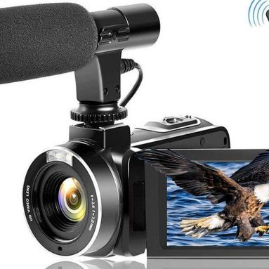 Video Camera Vlogging Camera with MicrophoneFull HD 1080p 30fps 24.0MP Video Camcorder