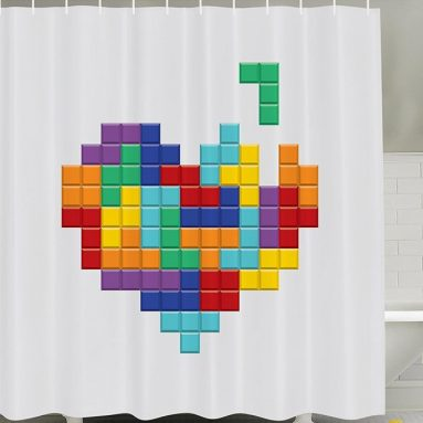 Video Game Tetris Colorful Heart Valentines Day and Happy Valentine Celebration
