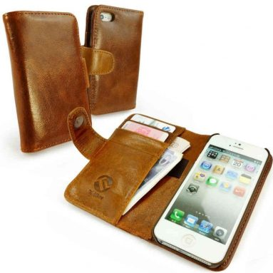 Vintage Leather Wallet-Style Case Cover for Apple iPhone 5c