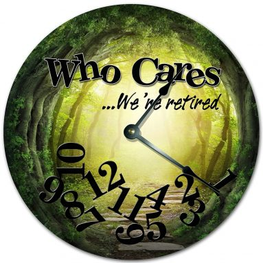 WHO Cares We're Retired Creepy Forest Tunnel Design Clock