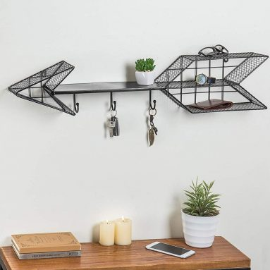 Wall Mounted Arrow Design Metal Wire Floating Shelf with 3 Hooks