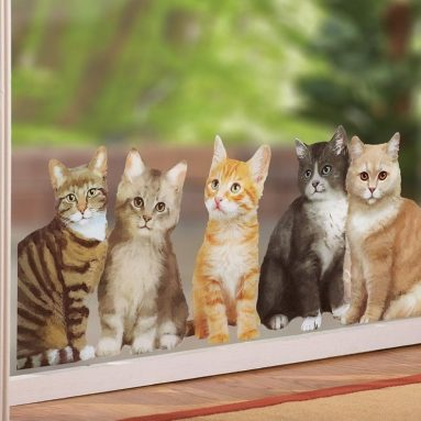 Watching Cats Window Cling Decal