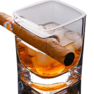 Whiskey Glass With Cigar Holder Fashion Wine Bourbon Brandy Beer Liquor