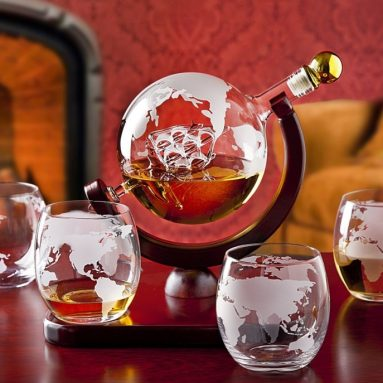 Whiskey decanter globe set