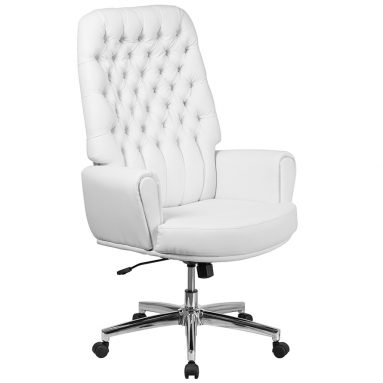 White Leather Executive Swivel Chair with Arms