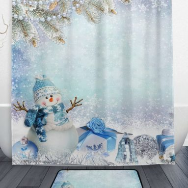 Winter Snowflake Shower Curtain and Mat Set
