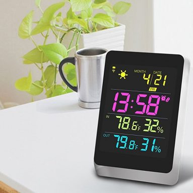 Wireless Color Weather Station Black with Backlight Indoor Outdoor Temperature