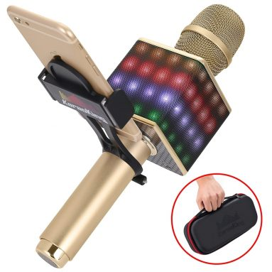 Wireless Portable Karaoke Microphone H8 2.0 with Smartphone holder and LED Lights