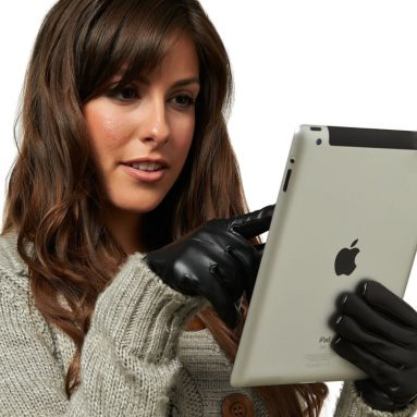 Women's Wool Lined Touchscreen Leather Gloves