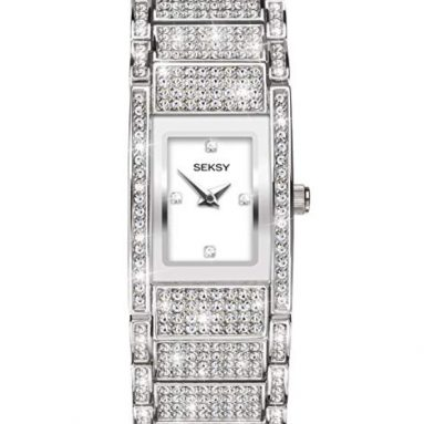 Women's rhodium swarovski crystal watch