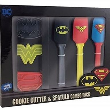 Wonder Woman, Superman and Batman Superhero Kitchen Spatula and Cookie Cutter Set
