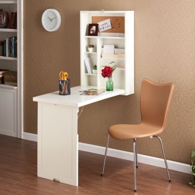 Wood Wall Mount Fold Out Convertible Laptop Desk