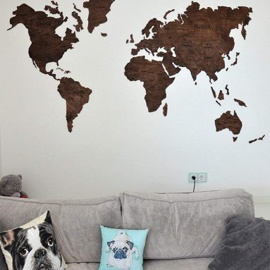Wood World Map Wooden with push pins