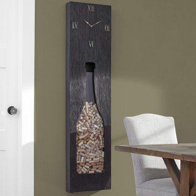 Wood and Brass Cork Catcher Wall Clock