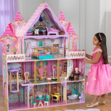 Wooden 4-Level Enchanted Princess Dollhouse w 20 pcs Furniture