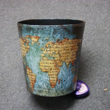 World Map Pattern PU Leather Paper Basket Trash Can