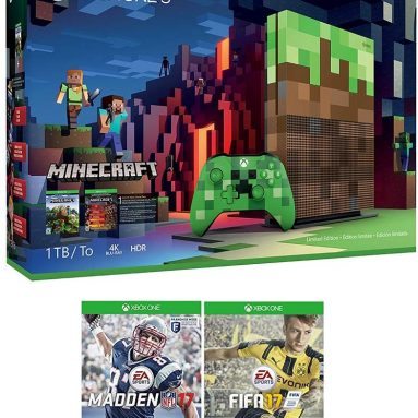 Xbox One S 1TB Limited Edition Minecraft Console with Creeper Controller