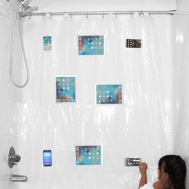 YouTub Premium Clear Shower Curtain Liner With Waterproof Media Pockets