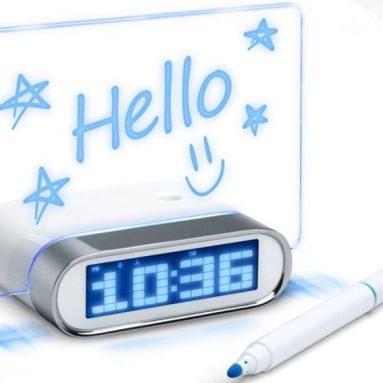 4 Port USB 2.0 Desk Hub Glowing Memo Board Alarm Clock