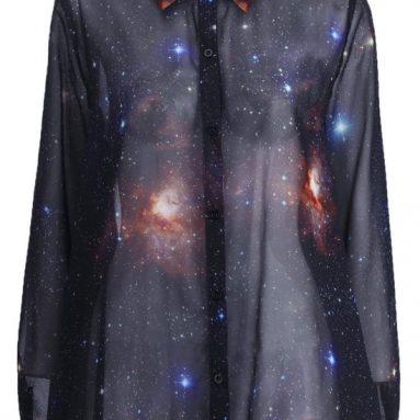 Universe Print Long Sleeves Loose Shirt