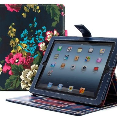 Navy Floral Style Case Cover Stand for iPad 4