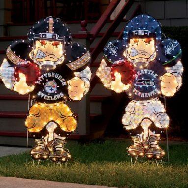 NFL Yard Art With Lights