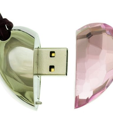Pink Crystal Heart Necklace 8GB USB Flas