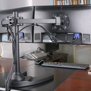 Dual LCD Monitor Free Standing Desk Mount/