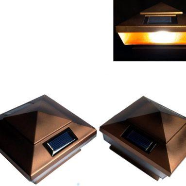 2 Pk Garden Solar Copper Post Deck Cap