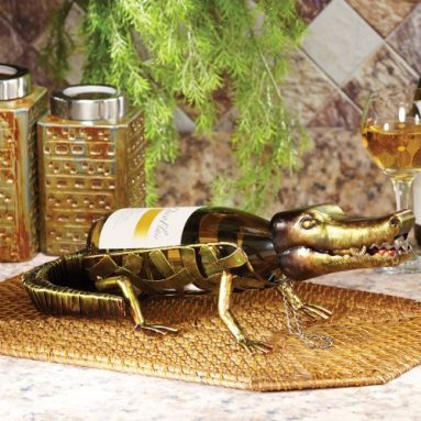 Alligator Figurine Metal Wine Bottle Holder