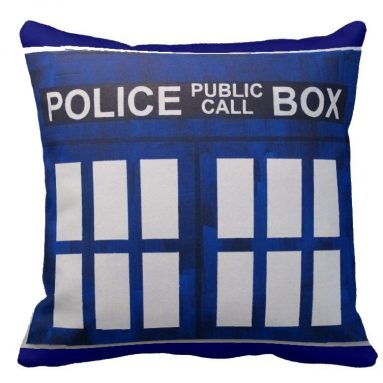 Doctor Who Police Box Pattern Pillow Cover
