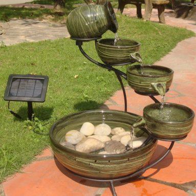 Smart Solar Green Bamboo Finish Solar Cascade Fountain