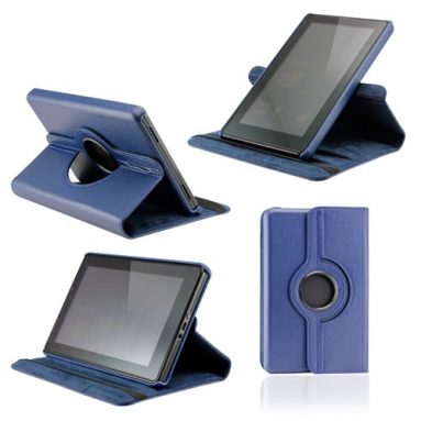 Dark Blue 360 Degree Rotating Leather Case Cover
