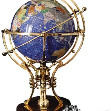 Illuminated Blue GEMSTONE GLOBE with GOLD Stand